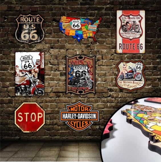 Kit 5 Placas Decoração Mdf 6mm Route 66 Rota 66 Stop Harley