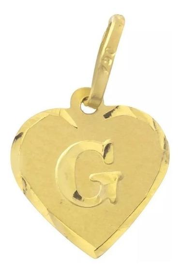 Pingente Letra Coração Ouro 18k. Frete Grátis