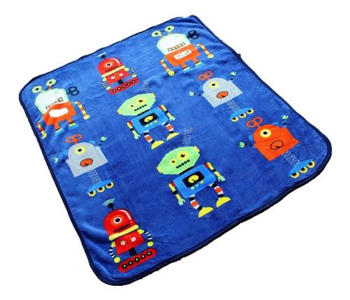 Imagen 1 de 3 de Cobertor Ligero Infantil 1.00x1.30 Suave Cálido Robots