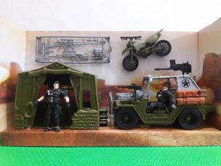 Boneco Militar Tipo Comandos Ação Gi Joe Jipe Jeep Tenda