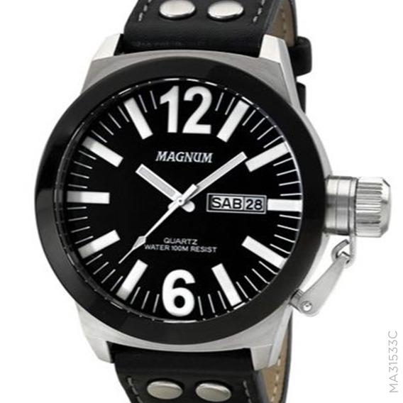 Relógio Magnum Masculino Prateado Military Ma31533c + Nota