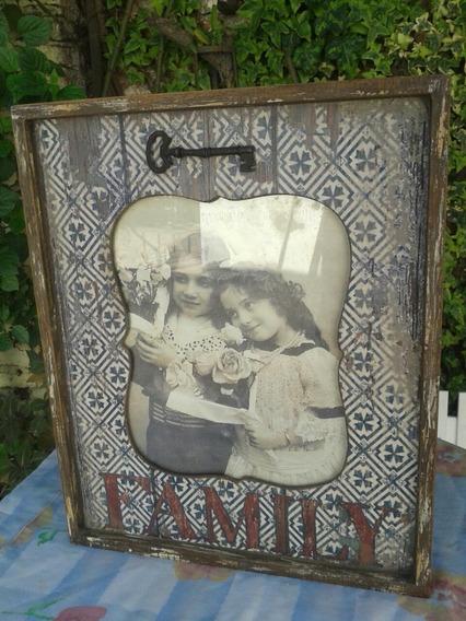 Portarretrato Estilo Vintage En Madera Para Colgar