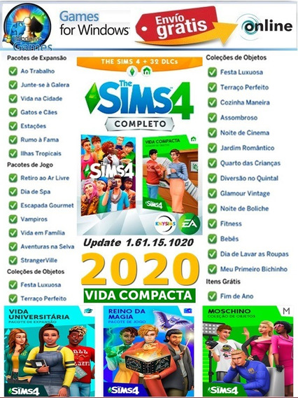The Sims 4 Vida Universitaria Completo + 31 Dlcs Br Envio Ja