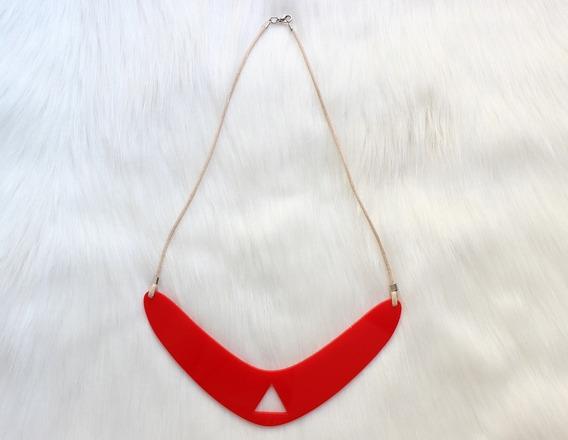 Maxi Colar Feminino Acrílico Geométrico Vermelho Exclusivo