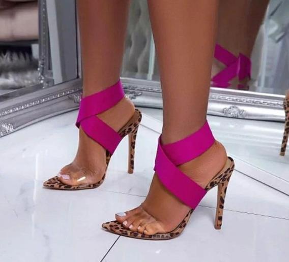 Salto Alto Leopardo Gladiador Moda Feminina 2019