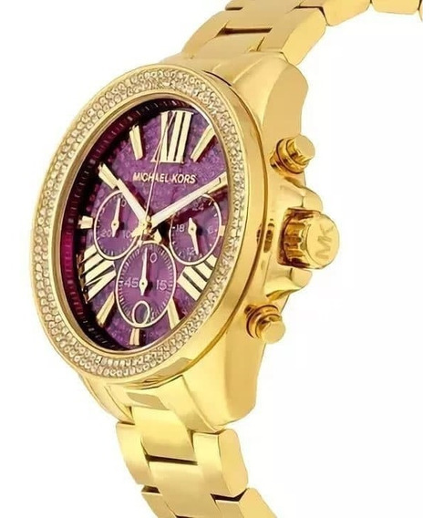 Relógio Michael Kors Mk 6290 Original Strass Dourado E Rosa