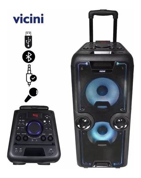 Caixa De Som Amplificada 800w Dj Bluetooth Usb C/ Rodinhas