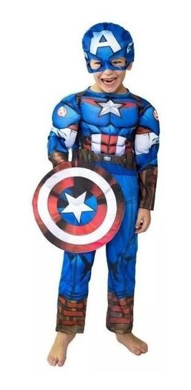 Disfraz Capitan America Con Musculos Talle 1 5/6 Años