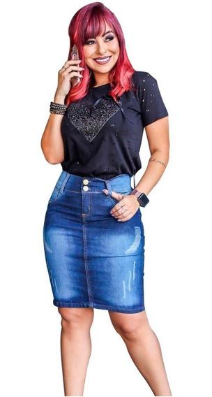 Kit 5 Saia Jeans Moda Evangelica Com Lycra Modelos Variados