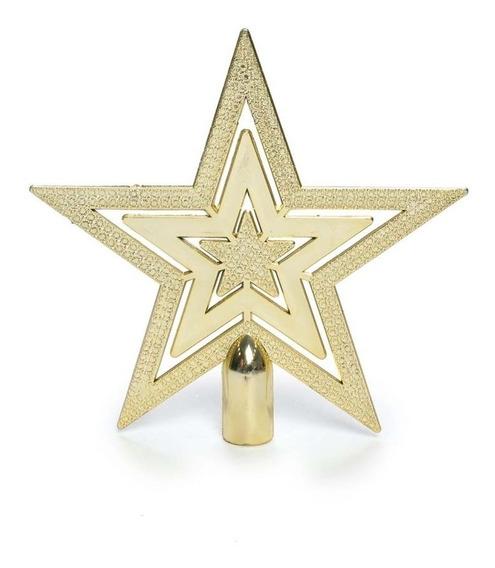 Ponteira Estrela P/ Árvore De Natal 20x20cm Dourado
