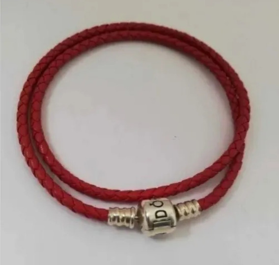 Brazalete Pandora De Cuero Trenzado Rojo Ale925