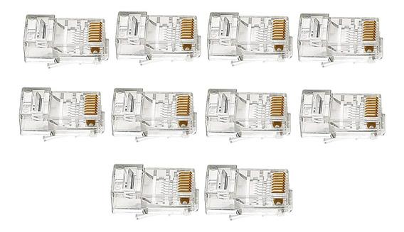 10 Peças Conectores Rj45, Extremidades De Crimpagem Rj45 8p