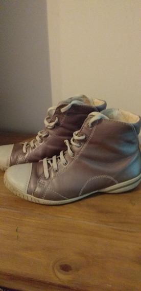 Zapatillas Merrel Botita Color Gris Metalizado