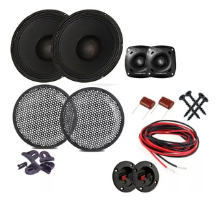 Parlantes 15 + Tweeter Bala X2 + Rejas Cable Capa Blue Force