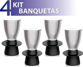 Kit 4 Banquetas Tin Assento Cristal Base Color Preto