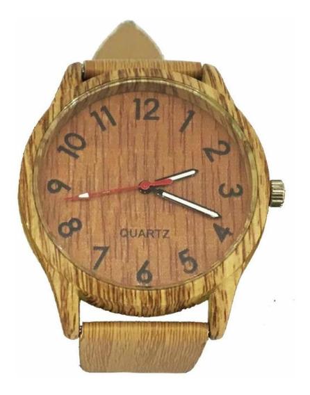 Relógio De Pulso Madeira Unissex - 30% Off