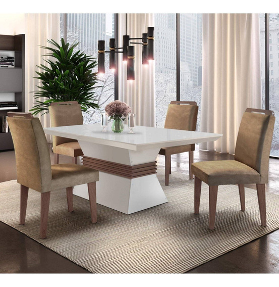 Mesa De Jantar 4 Cadeiras Santorini Espresso Móveis Id