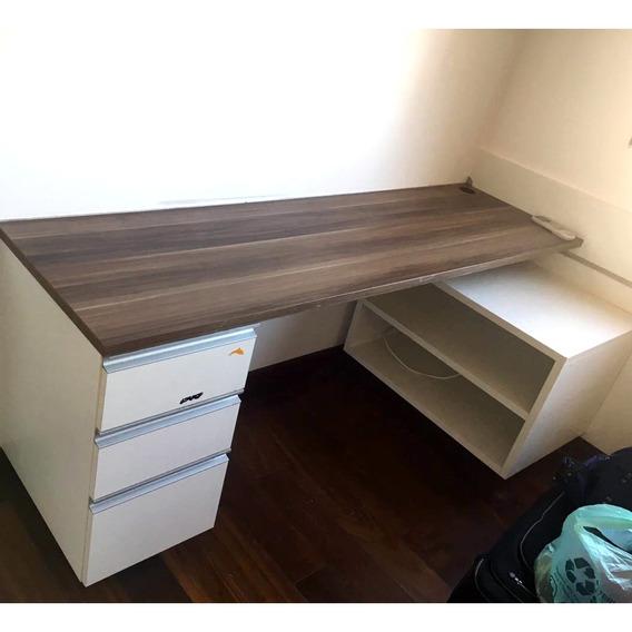 Mesa Para Escritório Escrivaninha Com 3 Gavetas Cd590 Usado