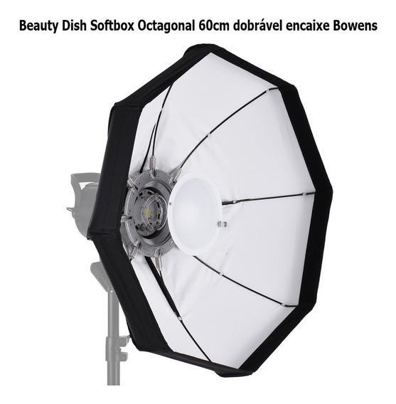 Beauty Dish Softbox Octagonal 60cm Dobrável Encaixe Bowens