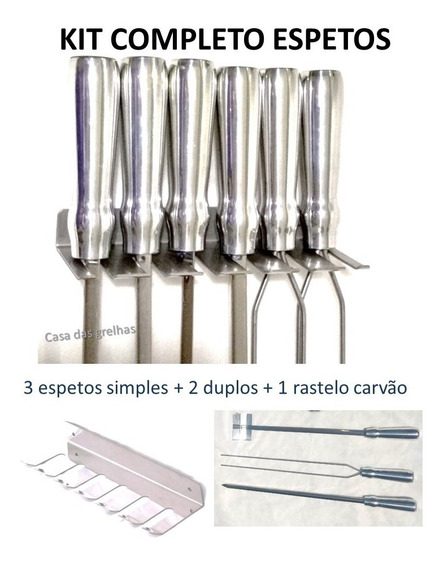 Kit 5 Espetos Churrasco Lamina 44cm + Porta Espeto + Rastelo