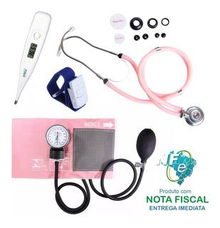 Kit Enfermagem Premium Esfig. Esteto Rosa Termômetro Garrote