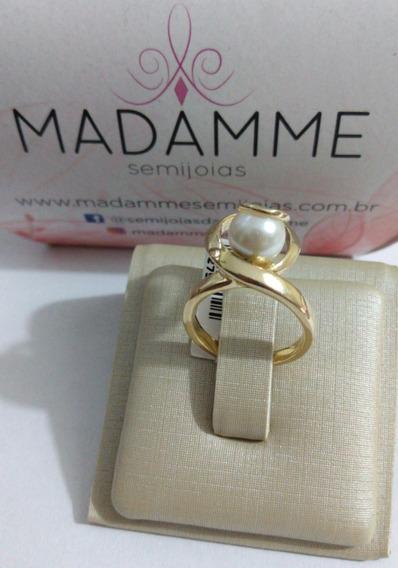 Anel Com Pérola Sintética Ouro Amarelo (dourado) Madamme Sj