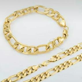 Corrente+pulseira Folheada Em 3 Camadas De Ouro 18k