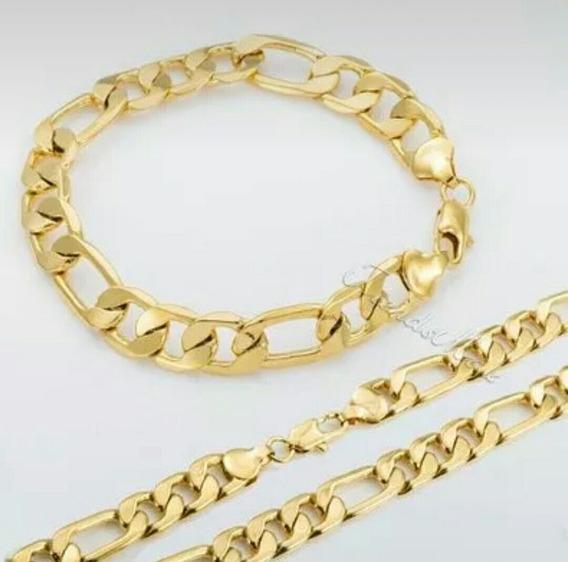 Corrente+pulseira Folheada Em 3 Camadas De Ouro 18k+ Brinde