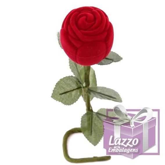 Rosa Com Cabo - Caixinha Veludo Porta Anel