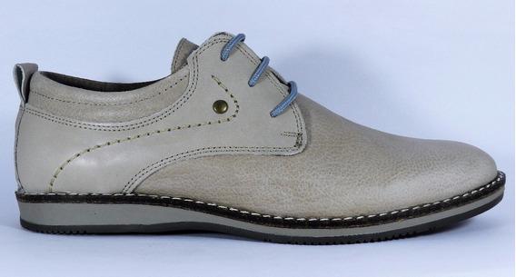 Free Comfort Zapato Acordonado 6528 Cuero Cosido Color Hueso