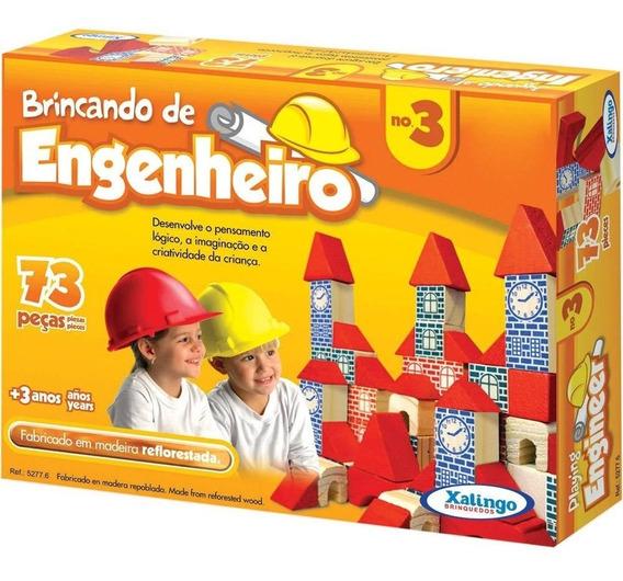 Brincando De Engenheiro 73 Pçs Blocos Madeira 52776 Xalingo