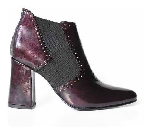 Bota Mujer Cuero Botineta Briganti Zapato Taco - Mcbo24866