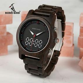 Promoção Relógio Bobo Bird Original Madeira Digital Quartz