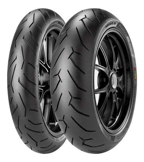 Par Pneu Mt03 R3 Fazer Pirelli Rosso 2 110/70-17 140/70-17