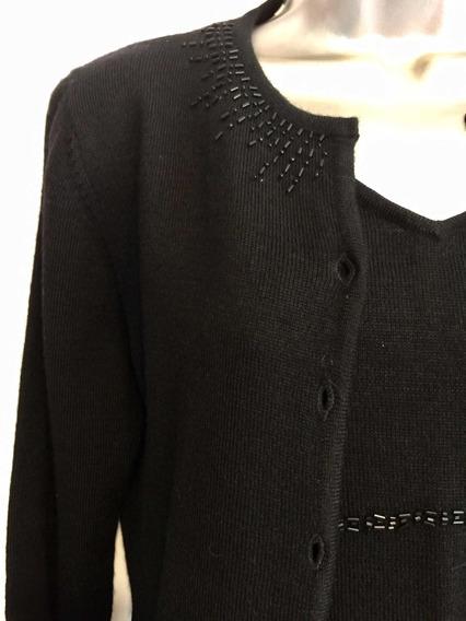Sweater C/top D/tiros Negro D/lana Bordado Manga 3/4 Talla M