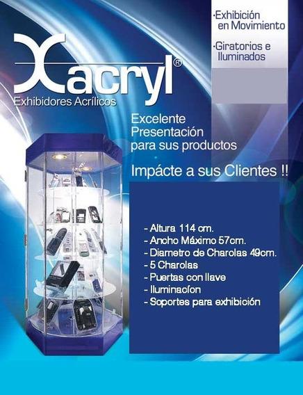 Exhibidor Hexagonal Acrilico Giratorio 114cm Altura Con -ex