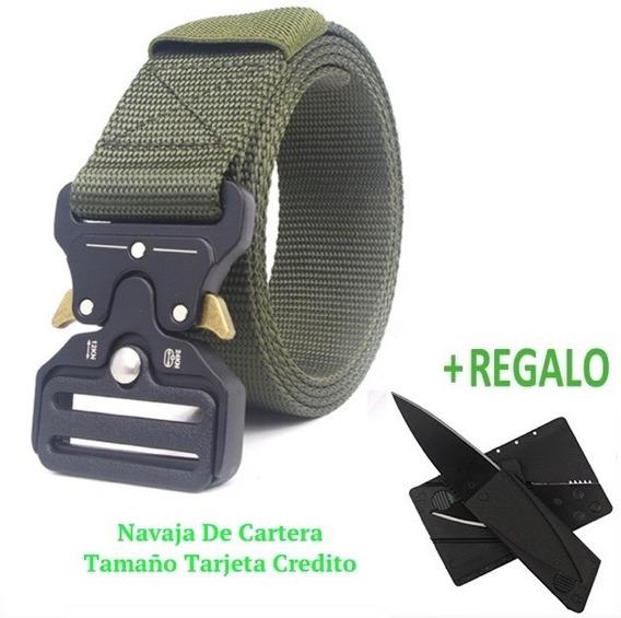 Cinturón Táctico Militar Tipo Asalto Hebilla Metal + Navaja