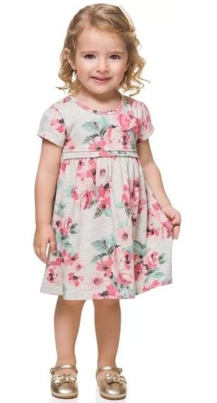 Vestido Infantil Milon Bebê Manga Curta Floral Verão Tam P