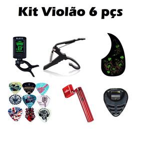 Kit 6pç Capotraste Palhetas Encordoador Afinador Escudo