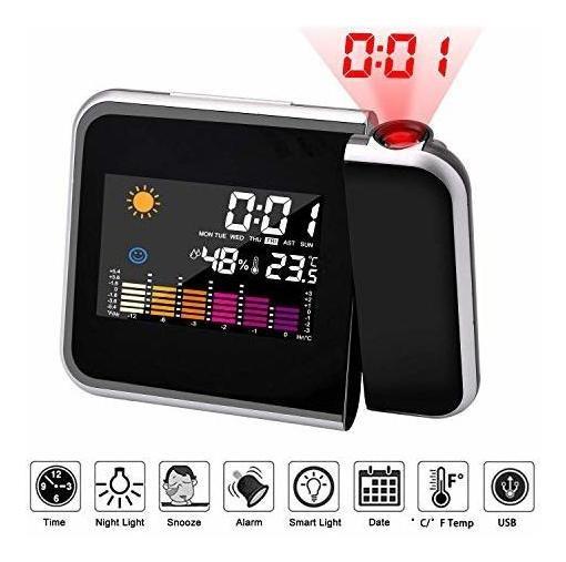 Reloj De Proyección Digital Led Proyector Despertador Con D