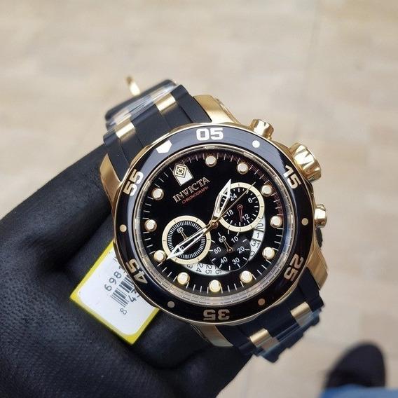 Relógio Invicta 6981 Dourdo B. Ouro 18 K Original Preto