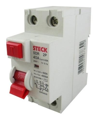 Interruptor Breaker Diferencial 30ma Bipolar Steck 25 40a