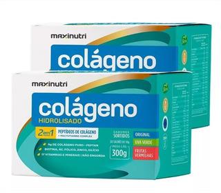 Kit 2 Colágeno Hidrolisado 2em1 Sortidos 30 Sachês Maxinutri