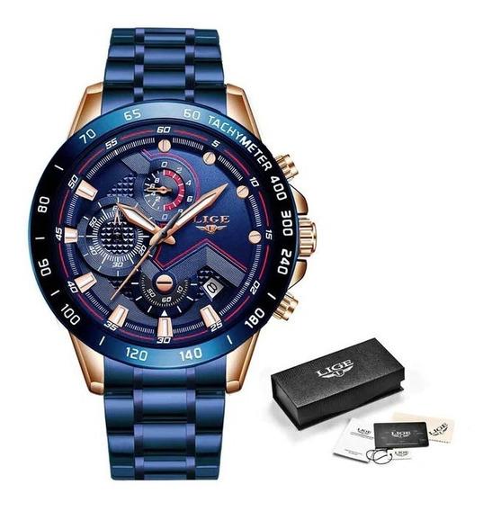 Relógio Lige Quartzo Militar Masculino Original Lançamento