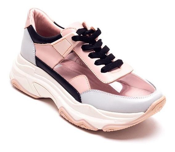 Sneaker Dama Z4580 Rosa Con Aplicación De Mica Transparente.