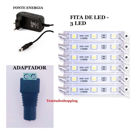 Kit Módulos Led 10pçs C/3 Led + Adaptador + Fonte De Energia 12v 2a