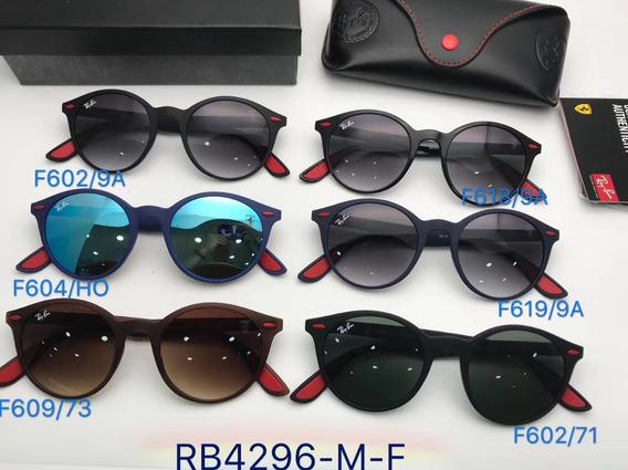 Oculos De Sol Masculino Ferrari Round Scuderia Rb4296 Redond