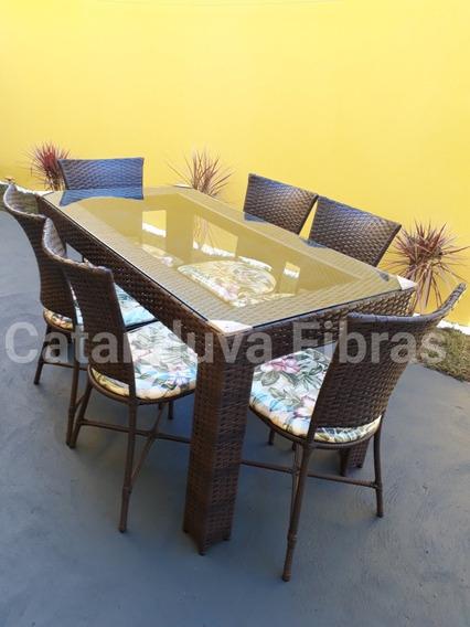 Mesa Com 6 Cadeiras De Fibra Sintética Junco Vime Promoção