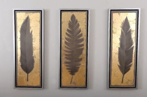 Cuadro Decorativo 3 Piezas Tríptico Plumas Oro Këssa Muebles