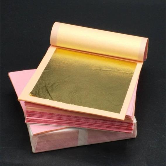 Folha De Ouro Puro Genuíno Italiana 25 Folhas 8x8cm